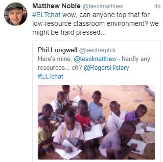 teacherphili tweet and tesolmatthew reply