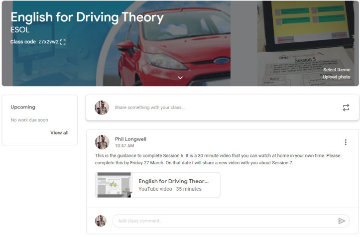 English for Driving Theory - Google Classroom Header Image