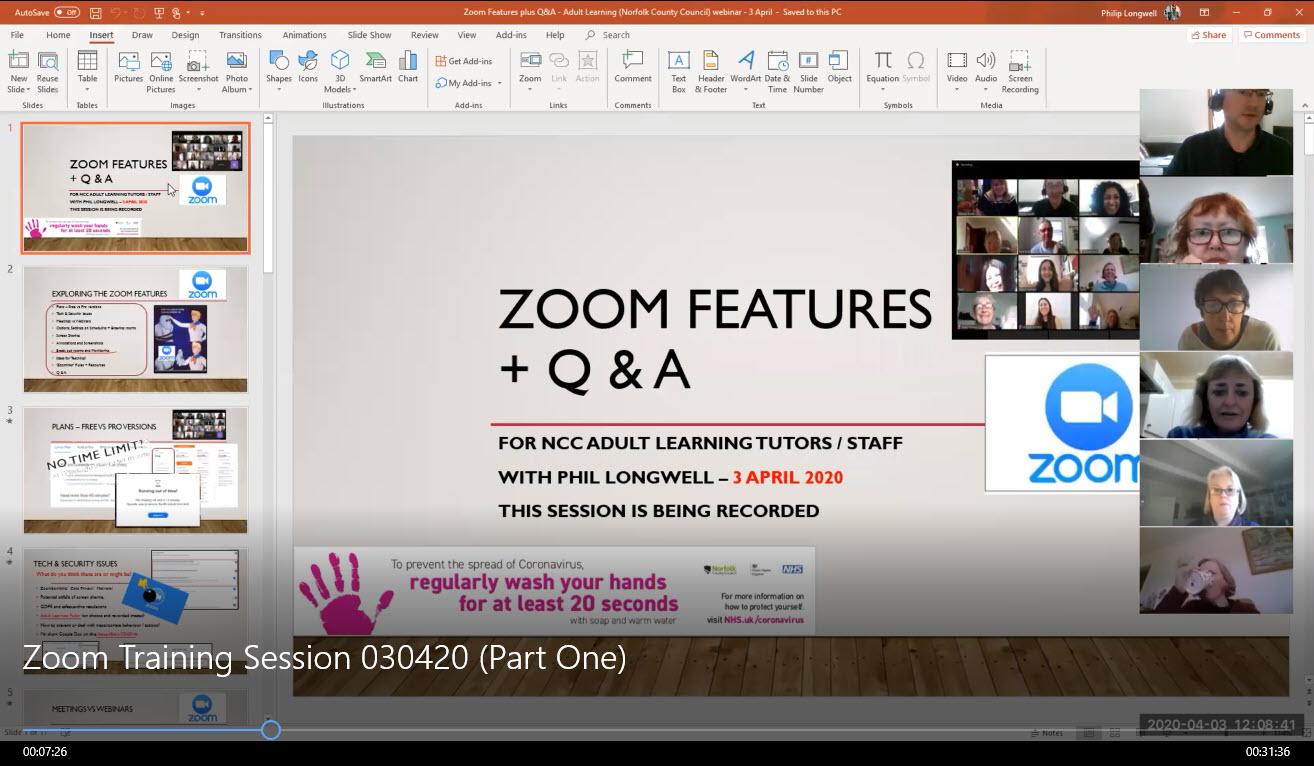 Screenshot of Zoom recording - Skip to 7 min 25 secs